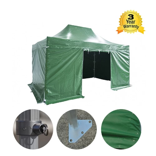 Folding Tent PRO Series 50mm Aluminium Structure + 4 Sides PVC 520g/m2 Tarpaulin 3x4.5m for Professional Needs or Daily Use Green