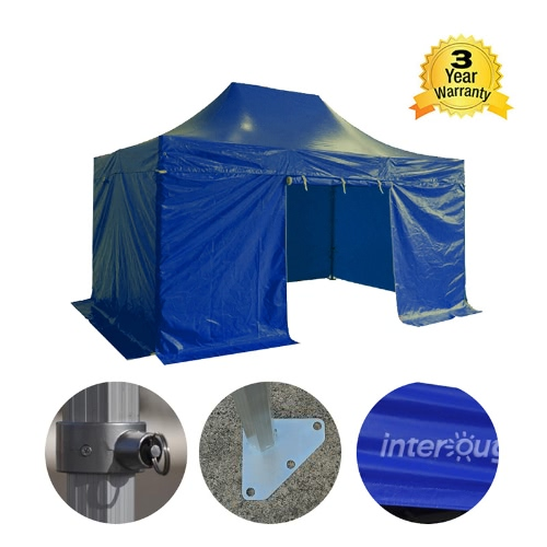 Folding Tent PRO Series 50mm Aluminium Structure + 4 Sides PVC 520g/m? Tarpaulin 3x4.5m for Professional Needs or Daily Use BlueHome &amp; Garden<br>Folding Tent PRO Series 50mm Aluminium Structure + 4 Sides PVC 520g/m? Tarpaulin 3x4.5m for Professional Needs or Daily Use Blue<br>