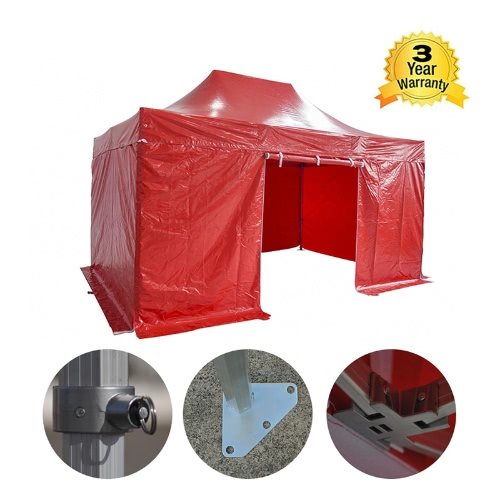 Folding Tent PRO Series 50mm Aluminium Structure + 4 Sides PVC 520g/m? Tarpaulin 3x4.5m for Professional Needs or Daily Use RedHome &amp; Garden<br>Folding Tent PRO Series 50mm Aluminium Structure + 4 Sides PVC 520g/m? Tarpaulin 3x4.5m for Professional Needs or Daily Use Red<br>