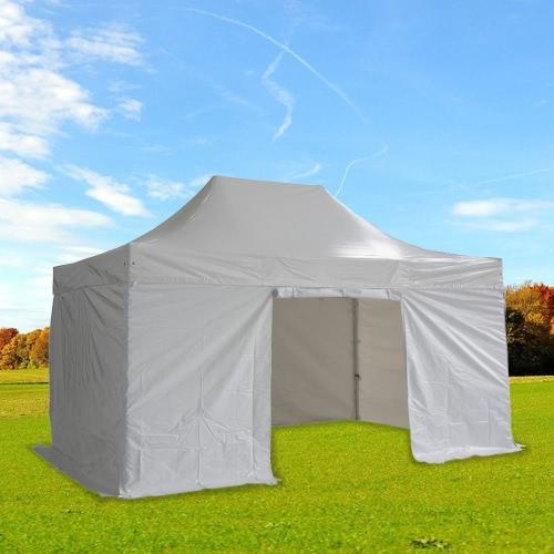 Folding Tent PRO Series 50mm Aluminium Structure + 4 Sides PVC 520g/m? Tarpaulin 3x4.5m WhiteHome &amp; Garden<br>Folding Tent PRO Series 50mm Aluminium Structure + 4 Sides PVC 520g/m? Tarpaulin 3x4.5m White<br>