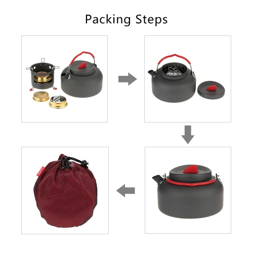 ALOCS Lightweight Outdoor Kettle Teapot Camping Cookware Water Boiler Pot 1.4L Alcohol Stove Heater And Support Bracket PortableSports &amp; Outdoor<br>ALOCS Lightweight Outdoor Kettle Teapot Camping Cookware Water Boiler Pot 1.4L Alcohol Stove Heater And Support Bracket Portable<br>