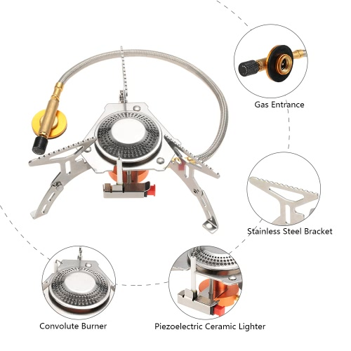 Docooler Portable Camping Stove Gas Stove Outdoor Burner Cooker Furnace with Piezo Ignition Ultralight Compact Storage for OutdoorSports &amp; Outdoor<br>Docooler Portable Camping Stove Gas Stove Outdoor Burner Cooker Furnace with Piezo Ignition Ultralight Compact Storage for Outdoor<br>