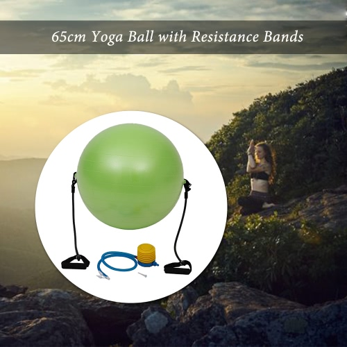 65cm Exercise Fitness Green Yoga Balance Trainer Ball Training BallYoga Ball with Resistance Bands Pump for Pilates Yoga Workout FSports &amp; Outdoor<br>65cm Exercise Fitness Green Yoga Balance Trainer Ball Training BallYoga Ball with Resistance Bands Pump for Pilates Yoga Workout F<br>