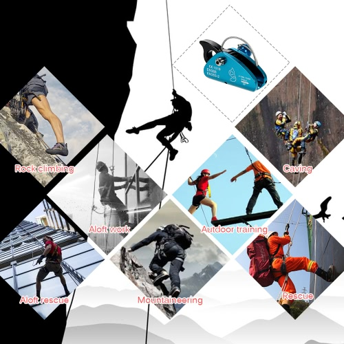 Lixada Rock Climbing Fall Protection Rescue Rope Grab Aluminum with Spring Tensioned Pin Easy Rope InstallationSports &amp; Outdoor<br>Lixada Rock Climbing Fall Protection Rescue Rope Grab Aluminum with Spring Tensioned Pin Easy Rope Installation<br>