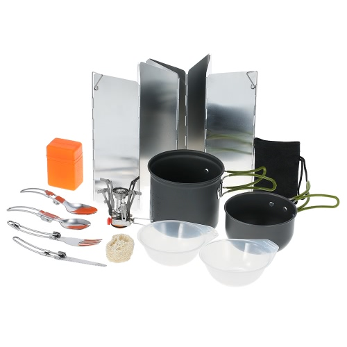 TOMSHOO 11PCS Outdoor Camping Cookware Set Portable Hiking Backpacking Cooking Picnic Cooking Pot Pan Set Bowl Spoon Fork Spork CuSports &amp; Outdoor<br>TOMSHOO 11PCS Outdoor Camping Cookware Set Portable Hiking Backpacking Cooking Picnic Cooking Pot Pan Set Bowl Spoon Fork Spork Cu<br>