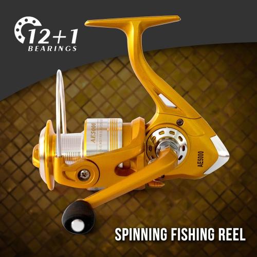 12+1BB Ball Bearings 5.2:1 Lightweight Spinning Fishing Reel Tackle Aluminum Spool Foldable Handle Reels Fishing Tackle 1000 3000Sports &amp; Outdoor<br>12+1BB Ball Bearings 5.2:1 Lightweight Spinning Fishing Reel Tackle Aluminum Spool Foldable Handle Reels Fishing Tackle 1000 3000<br>