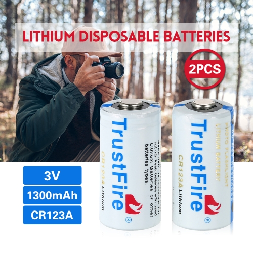 Trustfire 2PCS 3V 1300mAh CR123A Lithium Disposable Batteries Fit for Flashlight Baby Toy Camera