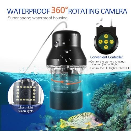 Lixada Professional Underwater Fishing Video Camera Fish Finder 9 Inch Large Color Screen Waterproof 18 LEDs 360 Degree Rotating Camera