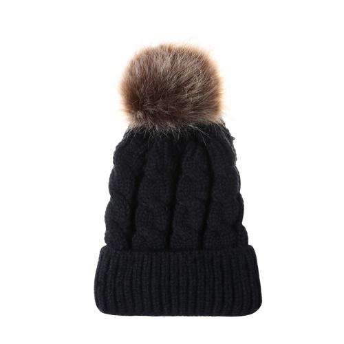 冬の暖かい女性と子供ニットのかぎ針編みウールの帽子