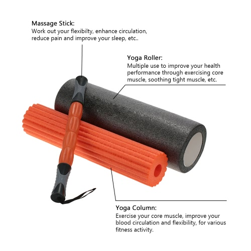 45*15cm 3-in-1 Yoga Exercise Fitness Massage Spike Yoga Foam Roller Yoga Column Massage Trigger Point Stick Home GymSports &amp; Outdoor<br>45*15cm 3-in-1 Yoga Exercise Fitness Massage Spike Yoga Foam Roller Yoga Column Massage Trigger Point Stick Home Gym<br>