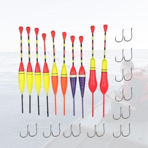 30pcs polyvalent léger Flotteurs Flotteurs pêche Floaters crochets Ensemble d'antenne Slip flottables Indicateurs de Bite Float bouée de pêche Équipement de pêche à la ligne