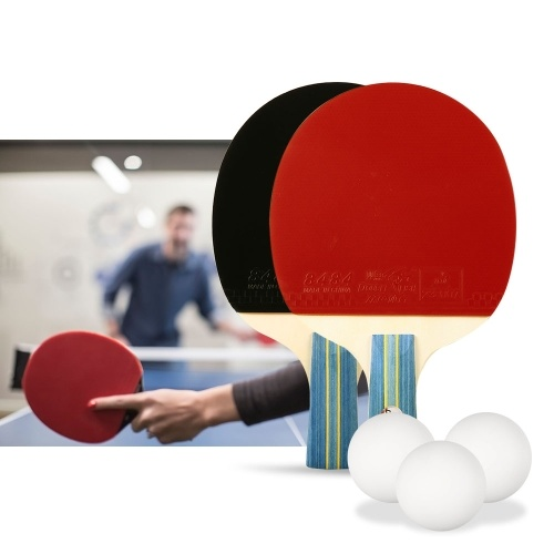 Juego de raqueta doble de tenis de mesa con 2 paletas de ping pong y 3 bolitas de ping pong