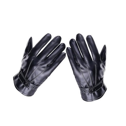 Зимние мужские кожаные перчатки с сенсорным экраном