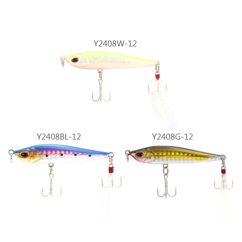Sinking Pencil Lure Hard Bait Artificial Fishing Lure with 2 Treble Hooks FeatherSports &amp; Outdoor<br>Sinking Pencil Lure Hard Bait Artificial Fishing Lure with 2 Treble Hooks Feather<br>