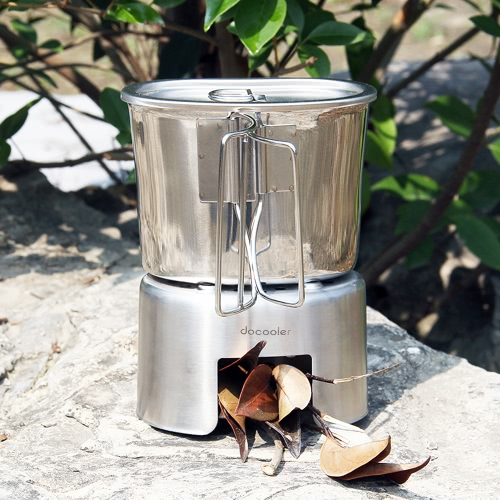 Docooler Outdoor Portable Camping Backpacking Wood Burning Stove Cup Set Stainless Steel Wood Stove 700ml Cup Pot with Foldable HaSports &amp; Outdoor<br>Docooler Outdoor Portable Camping Backpacking Wood Burning Stove Cup Set Stainless Steel Wood Stove 700ml Cup Pot with Foldable Ha<br>