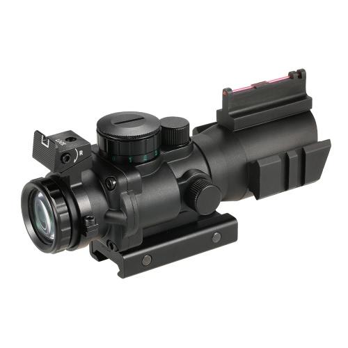 4x32 prisma rosso / verde / blu Tri-illuminato tattico reticolo Riflescope fibra ottica vista Compact portata di caccia