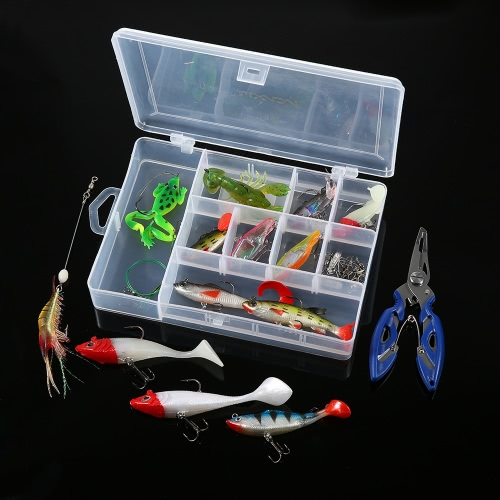 Lixada 34PCS Assorted Fishing Soft Lures Fishing Pliers Swivel Fishing Tackle Kit Set with CaseSports &amp; Outdoor<br>Lixada 34PCS Assorted Fishing Soft Lures Fishing Pliers Swivel Fishing Tackle Kit Set with Case<br>