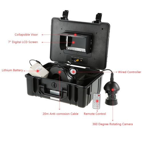 7 Professional LCD Underwater Fishing Camera Fishfinder 360 Degree Rotating CCD 650TVL Camera Fish Finder Fish Detector MonitorSports &amp; Outdoor<br>7 Professional LCD Underwater Fishing Camera Fishfinder 360 Degree Rotating CCD 650TVL Camera Fish Finder Fish Detector Monitor<br>