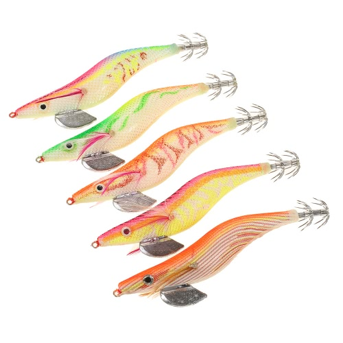 5PCS 13cm / 20g Shrimp Fishing Lure Bait Double Squid Jigs with Hook Cover Tail Hooks Tackle with Storage BoxSports &amp; Outdoor<br>5PCS 13cm / 20g Shrimp Fishing Lure Bait Double Squid Jigs with Hook Cover Tail Hooks Tackle with Storage Box<br>