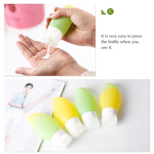 78ml Refillable Mango Shaped Travel Bottle Set Leakproof Squeezable Silicone Bottles Kit Style Yellow