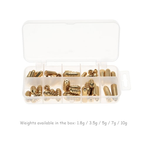 50pcs 1.8/3.5/5/7/10g Weight Assorted Copper Sinker Kit Fishing Tackle Sinkers in A Box CaseSports &amp; Outdoor<br>50pcs 1.8/3.5/5/7/10g Weight Assorted Copper Sinker Kit Fishing Tackle Sinkers in A Box Case<br>