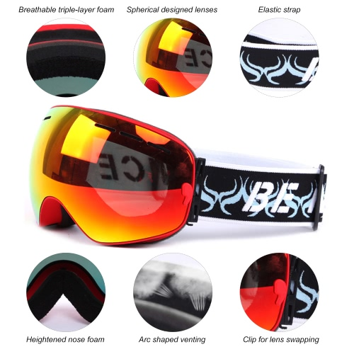Adult Skiing Snowboarding Skating Goggles UV Protection Anti-fog Wide Spherical PC Lens Anti-slip Strap Helmet CompatibleSports &amp; Outdoor<br>Adult Skiing Snowboarding Skating Goggles UV Protection Anti-fog Wide Spherical PC Lens Anti-slip Strap Helmet Compatible<br>