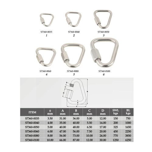 Stainless Steel Triangle Quick Link Locking Carabiner Hanging Hook Buckle for Outdoor Camping HikingSports &amp; Outdoor<br>Stainless Steel Triangle Quick Link Locking Carabiner Hanging Hook Buckle for Outdoor Camping Hiking<br>