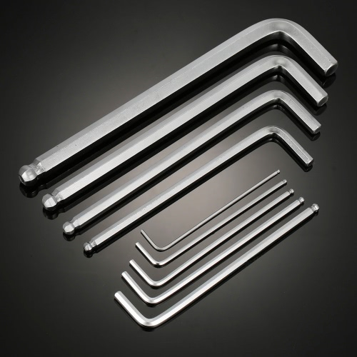Set of 9 1.5-10mm L-Wrench Stubby Chrome Vanadium Steel Ball End Tip High Torque Hex Key L-Wrench Set Balldriver Screwdriver CycliSports &amp; Outdoor<br>Set of 9 1.5-10mm L-Wrench Stubby Chrome Vanadium Steel Ball End Tip High Torque Hex Key L-Wrench Set Balldriver Screwdriver Cycli<br>