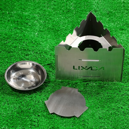 Lixada Portable Stainless Steel Folding Lightweight Wood Stove Outdoor Cooking Picnic Camping Backpacking Burner with Tray for Sol