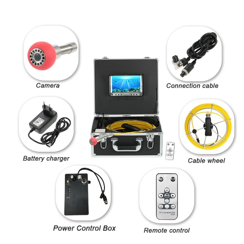 7 LCD Monitor 960TVL CCD Pipeline Inspection Camera Waterproof Drain Pipe Sewer Inspection Camera Industrial Endoscope BaroscopeSports &amp; Outdoor<br>7 LCD Monitor 960TVL CCD Pipeline Inspection Camera Waterproof Drain Pipe Sewer Inspection Camera Industrial Endoscope Baroscope<br>