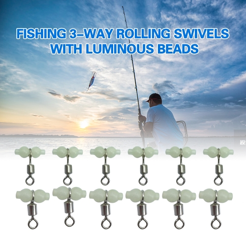 12Pcs Fishing 3 Way Rolling Swivel T-shape Cross-line Connector with Luminous Beads Sea Fishing Accessories TackleSports &amp; Outdoor<br>12Pcs Fishing 3 Way Rolling Swivel T-shape Cross-line Connector with Luminous Beads Sea Fishing Accessories Tackle<br>