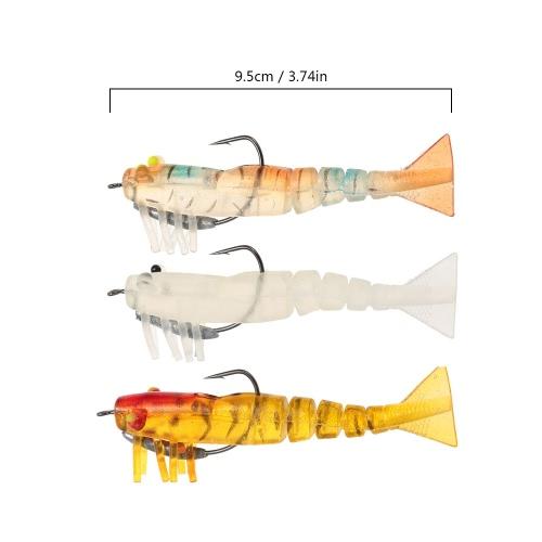 Lixada 3pcs 5 Jionted Segmented Fishing Lure Bait Shrimp Prawn Bait Fishing Kit Noctilucent Luminous Luminescent Shrimp Soft BaitSports &amp; Outdoor<br>Lixada 3pcs 5 Jionted Segmented Fishing Lure Bait Shrimp Prawn Bait Fishing Kit Noctilucent Luminous Luminescent Shrimp Soft Bait<br>