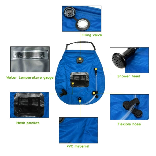 Lightweight Portable Outdoor Solar Camping Shower Bag with Removable Hose and Switchable Shower HeadSports &amp; Outdoor<br>Lightweight Portable Outdoor Solar Camping Shower Bag with Removable Hose and Switchable Shower Head<br>