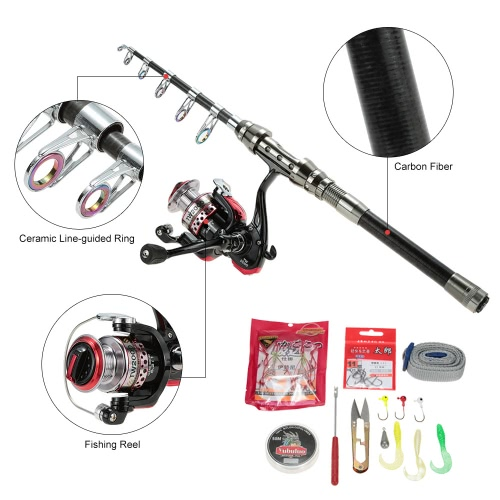 Lixada High-end Portable Hand Pole Sea Full Fishing Kit Set Carbon 2.1m Telescopic Fishing Rod with Fishing Reel and Other FishingSports &amp; Outdoor<br>Lixada High-end Portable Hand Pole Sea Full Fishing Kit Set Carbon 2.1m Telescopic Fishing Rod with Fishing Reel and Other Fishing<br>