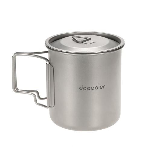 Docooler 420ml Titanium Water Cup Picnic Camping Mug with LidSports &amp; Outdoor<br>Docooler 420ml Titanium Water Cup Picnic Camping Mug with Lid<br>