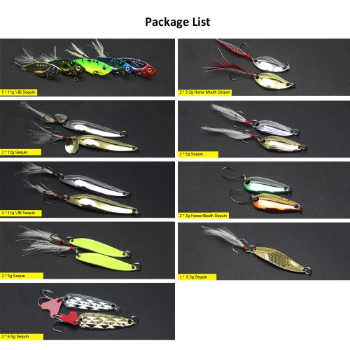 20Pcs Multiple Fishing Metal Sequins Lures Fishing VIB Baits Wire Baits Hooks Fishing Lures with BoxSports &amp; Outdoor<br>20Pcs Multiple Fishing Metal Sequins Lures Fishing VIB Baits Wire Baits Hooks Fishing Lures with Box<br>