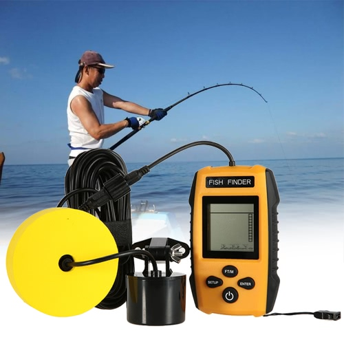 Portable Wired Fish Finder LCD Display Fishfinder Fish Location Detector with Wired Sonar Sensor Transducer for Boat Fishing Ice FSports &amp; Outdoor<br>Portable Wired Fish Finder LCD Display Fishfinder Fish Location Detector with Wired Sonar Sensor Transducer for Boat Fishing Ice F<br>