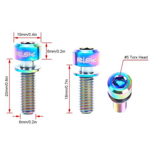 RISK 4PCS M6?18/20mm Titanium Ti Bolts Screws for MTB Disc Brake Caliper with Adaptor SpacerSports &amp; Outdoor<br>RISK 4PCS M6?18/20mm Titanium Ti Bolts Screws for MTB Disc Brake Caliper with Adaptor Spacer<br>
