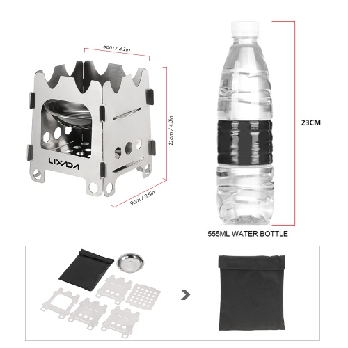 Lixada Outdoor Camping Stove Portable Ultralight Folding Stainless Steel Wood Stove Pocket Alcohol Stove with Alcohol Tray CampingSports &amp; Outdoor<br>Lixada Outdoor Camping Stove Portable Ultralight Folding Stainless Steel Wood Stove Pocket Alcohol Stove with Alcohol Tray Camping<br>