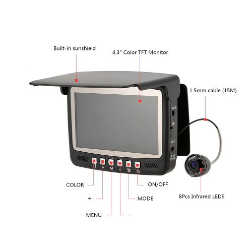 4.3 Digital Color TFT Monitor 8 Infrared LED 800TVL HD Underwater Fishing Camera 15M Cable Fish Finder Night VisionSports &amp; Outdoor<br>4.3 Digital Color TFT Monitor 8 Infrared LED 800TVL HD Underwater Fishing Camera 15M Cable Fish Finder Night Vision<br>