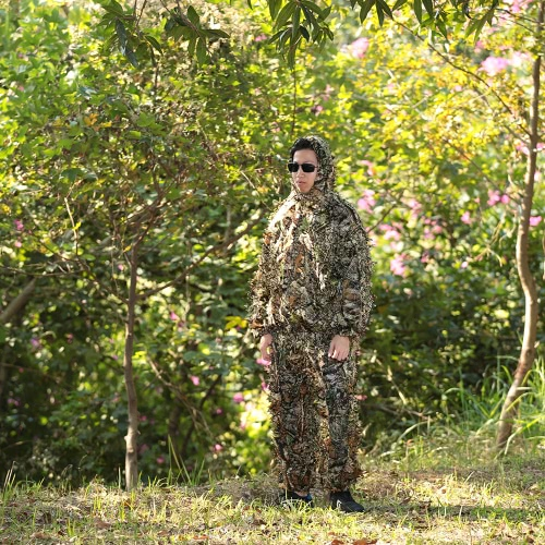 Camouflage Leafy Hunting Suit Jacket Pants Bionic Warrior Ghillie Suit for Hunting GamesSports &amp; Outdoor<br>Camouflage Leafy Hunting Suit Jacket Pants Bionic Warrior Ghillie Suit for Hunting Games<br>
