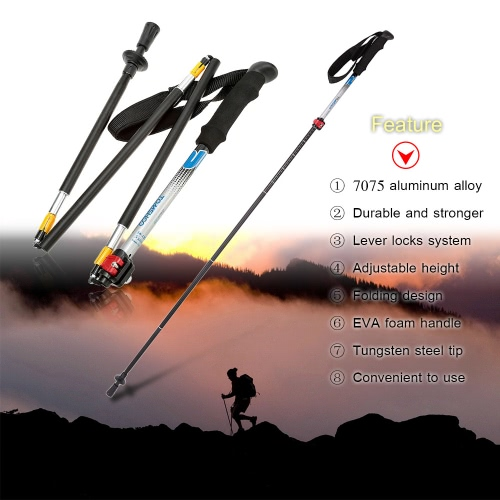 TOMSHOO 7075 Aluminum Alloy Folding Adjustable Telescopic Hiking Walking Stick Trekking Pole 5 Section with External Level LockSports &amp; Outdoor<br>TOMSHOO 7075 Aluminum Alloy Folding Adjustable Telescopic Hiking Walking Stick Trekking Pole 5 Section with External Level Lock<br>