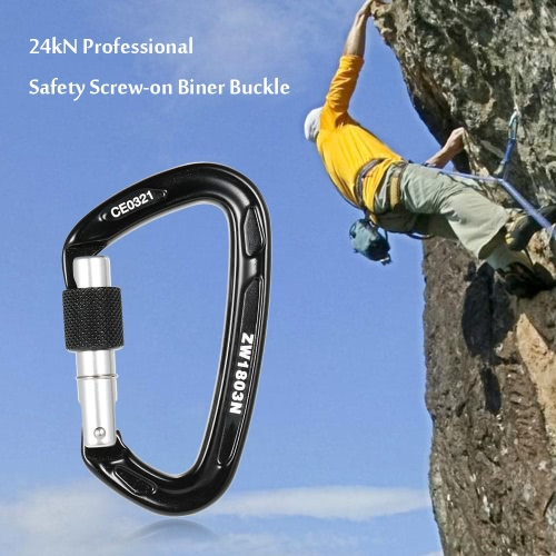 24kN Professional Safety Screw-on Biner Buckle Aluminum Alloy Carabiner for Outdoor Survival Mountaineering Rock Climbing Caving RSports &amp; Outdoor<br>24kN Professional Safety Screw-on Biner Buckle Aluminum Alloy Carabiner for Outdoor Survival Mountaineering Rock Climbing Caving R<br>