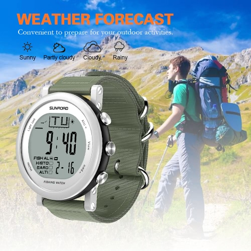 SUNROAD Fishing Barometer Watch Men Women Outdoor Digital Sports Watch Multi-functional Hiking Watch Weather Forecast Altimeter ThSports &amp; Outdoor<br>SUNROAD Fishing Barometer Watch Men Women Outdoor Digital Sports Watch Multi-functional Hiking Watch Weather Forecast Altimeter Th<br>