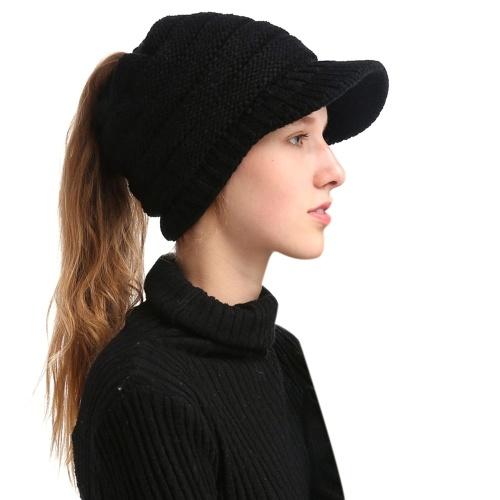 冬の女性の女の子柔らかい暖かいニット厚い帽子