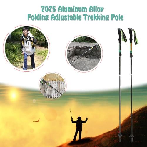 7075 Aluminum Alloy Folding Adjustable Telescopic Hiking Walking Stick Trekking Pole with External Level LockSports &amp; Outdoor<br>7075 Aluminum Alloy Folding Adjustable Telescopic Hiking Walking Stick Trekking Pole with External Level Lock<br>