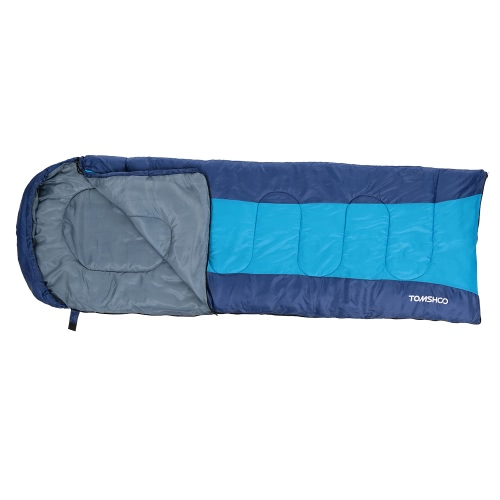 TOMSHOO (190+30)X75CM Thermal Adult Outdoor Hooded Envelope Sleeping Bag Camping Travel Hiking Multifunction Thick 1.5kg 10-15℃