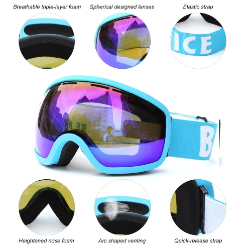 Skiing Snowboarding Skating Goggles UV Protection Anti-fog Wide Spherical PC Lens Anti-slip Strap Helmet CompatibleSports &amp; Outdoor<br>Skiing Snowboarding Skating Goggles UV Protection Anti-fog Wide Spherical PC Lens Anti-slip Strap Helmet Compatible<br>