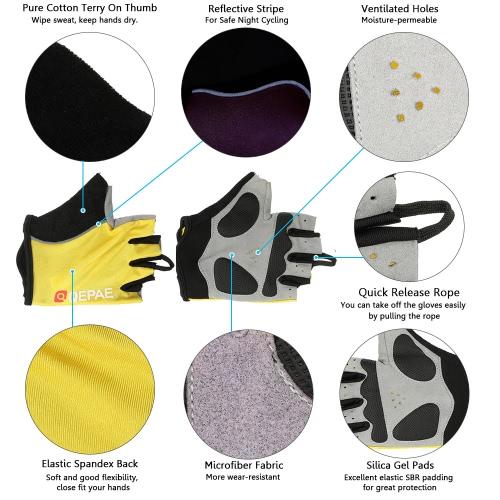 QEPAE Biking Gloves Gel Pad Fingerless Half Finger Gloves for Safe Night Riding Cycling HikingSports &amp; Outdoor<br>QEPAE Biking Gloves Gel Pad Fingerless Half Finger Gloves for Safe Night Riding Cycling Hiking<br>