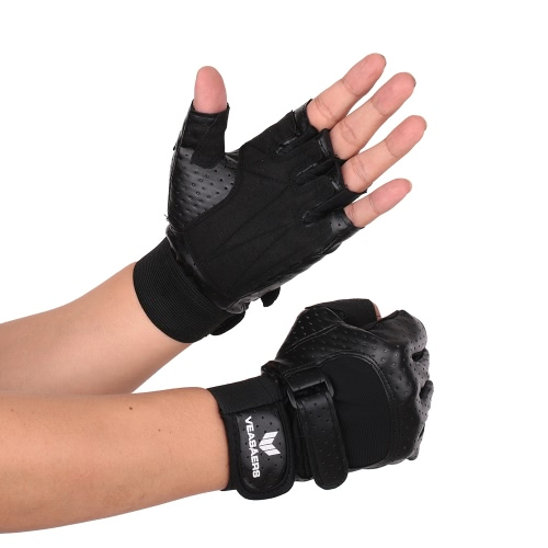 1 Pair of Anti-shock Breathable PU Leather Half-finger Gloves Sports Fitness Gloves for Chin Up Push Ups Cycling Gym TrainingSports &amp; Outdoor<br>1 Pair of Anti-shock Breathable PU Leather Half-finger Gloves Sports Fitness Gloves for Chin Up Push Ups Cycling Gym Training<br>